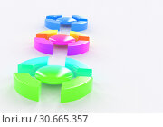 Color bullet items infographics template three options, items or positions, list, placed on the white background angle view 3d illustration. Стоковая иллюстрация, иллюстратор Евгений Забугин / Фотобанк Лори