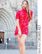 Купить «close-up portrait of young slim adult girl in sexy evening apparel», фото № 30665421, снято 24 июня 2017 г. (c) Яков Филимонов / Фотобанк Лори