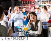 Sad woman at office party. Стоковое фото, фотограф Яков Филимонов / Фотобанк Лори