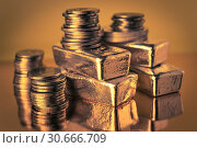 Купить «Gold bars and stack of gold coins. Background for finance banking concept. Trade in precious metals.», фото № 30666709, снято 25 февраля 2019 г. (c) bashta / Фотобанк Лори