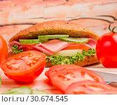 Купить «Ham Cheese Sandwich Represents Vegetarian Lettuce And Salad», фото № 30674545, снято 14 января 2015 г. (c) easy Fotostock / Фотобанк Лори