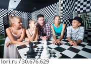 Купить «Portrait of family who is satisfied of visit of entertainment», фото № 30676629, снято 3 августа 2017 г. (c) Яков Филимонов / Фотобанк Лори