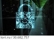 Купить «Composite image of digital image of lock shape on circuit board», фото № 30682757, снято 7 июля 2020 г. (c) Wavebreak Media / Фотобанк Лори