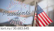 Купить «Composite image of god bless america. happy presidents day. vector typography», фото № 30683645, снято 10 июля 2020 г. (c) Wavebreak Media / Фотобанк Лори