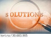 Купить «Magnifying glass showing solutions word», фото № 30683905, снято 24 мая 2019 г. (c) Wavebreak Media / Фотобанк Лори