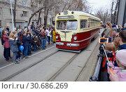 Купить «Московский парад трамваев 2019 г. Трамвай МТВ-82 1948 года», фото № 30686269, снято 20 апреля 2019 г. (c) Александр Замараев / Фотобанк Лори