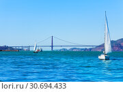 San Francisco bay with Golden Gate Bridge, USA (2015 год). Стоковое фото, фотограф Сергей Новиков / Фотобанк Лори