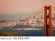 San Francisco cityscape with Golden Gate Bridge (2015 год). Стоковое фото, фотограф Сергей Новиков / Фотобанк Лори