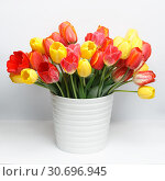 Huge bouquet of yellow and red tulips standing in a white large vase on a white table. Стоковое фото, фотограф Олег Белов / Фотобанк Лори