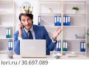 Купить «Young king businessman working in the office», фото № 30697089, снято 31 января 2019 г. (c) Elnur / Фотобанк Лори