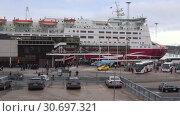 Купить «Круизный паром Mariella у терминала компании Viking Line в порту Стокгольма. Швеция», видеоролик № 30697321, снято 9 марта 2019 г. (c) Виктор Карасев / Фотобанк Лори