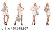 Купить «Fashionable woman isolated on white», фото № 30698937, снято 18 июня 2019 г. (c) Elnur / Фотобанк Лори