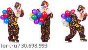 Купить «Funny male clown isolated on white», фото № 30698993, снято 25 мая 2019 г. (c) Elnur / Фотобанк Лори