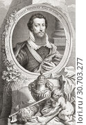 Robert Devereux, 2nd Earl of Essex, 1565-1601. English nobleman and a favourite of Elizabeth I. From the 1813 edition of The Heads of Illustrious Persons... (2019 год). Редакционное фото, фотограф Classic Vision / age Fotostock / Фотобанк Лори