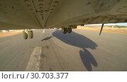Купить «The Helicopter Mi 26 Takes Off From The Landing Site», видеоролик № 30703377, снято 14 сентября 2017 г. (c) Pavel Biryukov / Фотобанк Лори