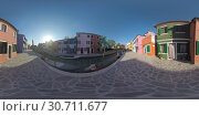 360 VR Traditional houses along canal and Leaning Bell Tower in Burano, Italy. Стоковое фото, фотограф Данил Руденко / Фотобанк Лори