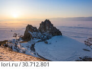 Купить «Cape Burkhan on Olkhon Island at Baikal Lake», фото № 30712801, снято 7 марта 2017 г. (c) Юлия Белоусова / Фотобанк Лори