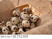 Купить «Quail eggs in the basket», фото № 30712929, снято 4 августа 2013 г. (c) Наталья Двухимённая / Фотобанк Лори
