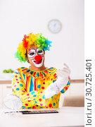 Купить «Male clown preparing for perfomance at home», фото № 30725401, снято 28 сентября 2018 г. (c) Elnur / Фотобанк Лори