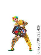 Купить «Male clown isolated on white», фото № 30725429, снято 28 сентября 2018 г. (c) Elnur / Фотобанк Лори