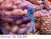Купить «Картофель нового урожая упакованный в сетки», фото № 30726301, снято 16 сентября 2018 г. (c) Вячеслав Палес / Фотобанк Лори