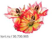 Купить «Dancers in colorful artistic dresses shot», фото № 30730905, снято 28 апреля 2019 г. (c) Гурьянов Андрей / Фотобанк Лори