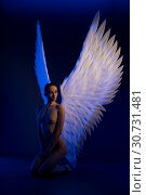 Купить «Nude girl with beautiful wings shot in thge dark», фото № 30731481, снято 29 апреля 2019 г. (c) Гурьянов Андрей / Фотобанк Лори