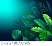Tropical leaves and palm branches on a dark background. Стоковая иллюстрация, иллюстратор Татьяна Трощева / Фотобанк Лори