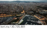 Купить «View from drones of sailboats and yachts in old port of Barcelona and gothic quarter at night», видеоролик № 30735881, снято 28 сентября 2018 г. (c) Яков Филимонов / Фотобанк Лори