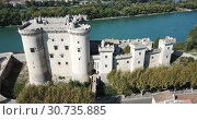 Купить «Aerial view of medieval fortified Chateau de Tarascon and Rhone river at sunny day», видеоролик № 30735885, снято 24 октября 2018 г. (c) Яков Филимонов / Фотобанк Лори