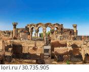 Купить «The ruins of a medieval temple of Zvartnots in Armenia», фото № 30735905, снято 22 сентября 2018 г. (c) Наталья Волкова / Фотобанк Лори