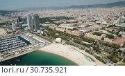 Купить «Image of seaside of Barcelona outdoors.», видеоролик № 30735921, снято 27 июня 2018 г. (c) Яков Филимонов / Фотобанк Лори