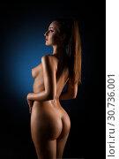 Купить «Gorgeous nude brunette rearview», фото № 30736001, снято 1 мая 2019 г. (c) Гурьянов Андрей / Фотобанк Лори