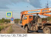 Купить «Автокран КС-65719-1К-1 «КЛИНЦЫ»», эксклюзивное фото № 30736241, снято 10 мая 2019 г. (c) Александр Щепин / Фотобанк Лори
