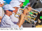 Купить «Russia, Samara, August 2018: Concerto by the trumpeters of the orchestra.», фото № 30736721, снято 10 августа 2018 г. (c) Акиньшин Владимир / Фотобанк Лори