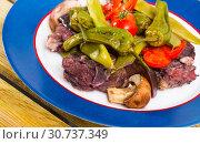 Купить «Tasty stewed lamb cooked with different vegetables served at plate», фото № 30737349, снято 16 августа 2018 г. (c) Яков Филимонов / Фотобанк Лори