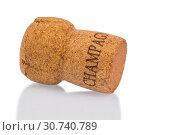 Ein einzelner Champagnerkorken, Symbolfoto für Festlichkeit, Genuss und Luxus. Стоковое фото, фотограф Zoonar.com/Erwin Wodicka - wodicka@aon.at / age Fotostock / Фотобанк Лори