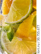 Купить «Macro photo of sliced lemon and lime with a leaf of mint and bubbles in glass. Cool drink mojito», фото № 30755677, снято 2 июля 2018 г. (c) Ярослав Данильченко / Фотобанк Лори
