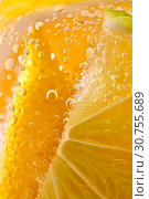 Купить «Macro photo of yellow lemon slices with lots of bubbles in a glass with water. Summer cold lemonade», фото № 30755689, снято 2 июля 2018 г. (c) Ярослав Данильченко / Фотобанк Лори