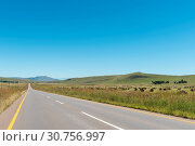 Купить «Farm landscape with bales of grass between Kokstad and Cedarvil», фото № 30756997, снято 26 марта 2018 г. (c) easy Fotostock / Фотобанк Лори