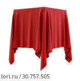 Купить «Red cloth on a square pedestal, isolated on white. 3d illustration», фото № 30757505, снято 8 февраля 2019 г. (c) easy Fotostock / Фотобанк Лори