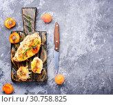 Купить «Dish from chicken breast stuffed with ripe apricot.Healthy food», фото № 30758825, снято 13 июля 2018 г. (c) easy Fotostock / Фотобанк Лори