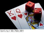 Купить «Close-up - Playing Cards And Red Gaming Dices», фото № 30760381, снято 22 мая 2019 г. (c) Pavel Biryukov / Фотобанк Лори