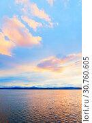 Купить «Sea sunset tropical landscape. Summer sunny water scene in picturesque tones. Sea summer nature scene», фото № 30760605, снято 26 августа 2013 г. (c) Зезелина Марина / Фотобанк Лори