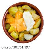 Купить «Patatas bravas with garlic mayonnaise and sauce», фото № 30761197, снято 17 июля 2019 г. (c) Яков Филимонов / Фотобанк Лори