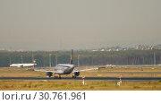 Купить «Lufthansa Airbus A319 landing», видеоролик № 30761961, снято 20 июля 2017 г. (c) Игорь Жоров / Фотобанк Лори
