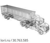 Купить «Truck with semitrailer. Wire-frame style. 3d illustration», фото № 30763585, снято 11 октября 2018 г. (c) easy Fotostock / Фотобанк Лори