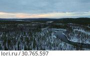 Купить «Полёт на дроне над тайгой. Кольский полуостров. Ранняя весна.», видеоролик № 30765597, снято 25 апреля 2019 г. (c) kinocopter / Фотобанк Лори