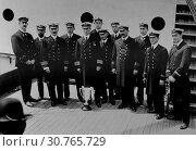Купить «USA New York -- 29 May 1912 -- Captain Arthur Henry Rostron and junior officers of the RMS CARPATHIA - a cruise ship which rescued many of the survivors...», фото № 30765729, снято 25 июня 2019 г. (c) age Fotostock / Фотобанк Лори