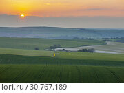 Купить «Sunrise in South Downs National Park in West Sussex, England.», фото № 30767189, снято 13 апреля 2019 г. (c) age Fotostock / Фотобанк Лори